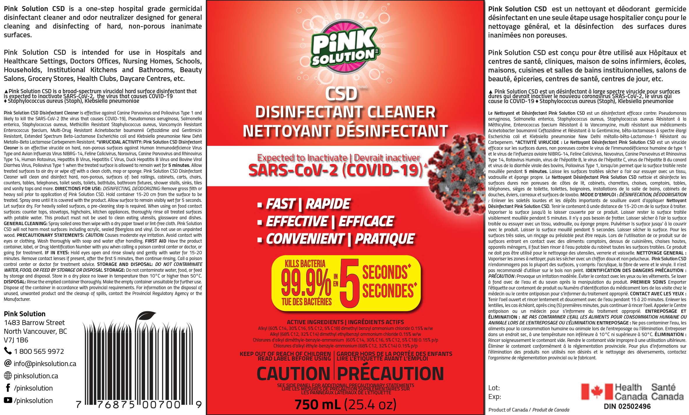 Disinfectant Germicidal Cleaner with Spray Head - Pink Solution - 750 ml - Pack of 12