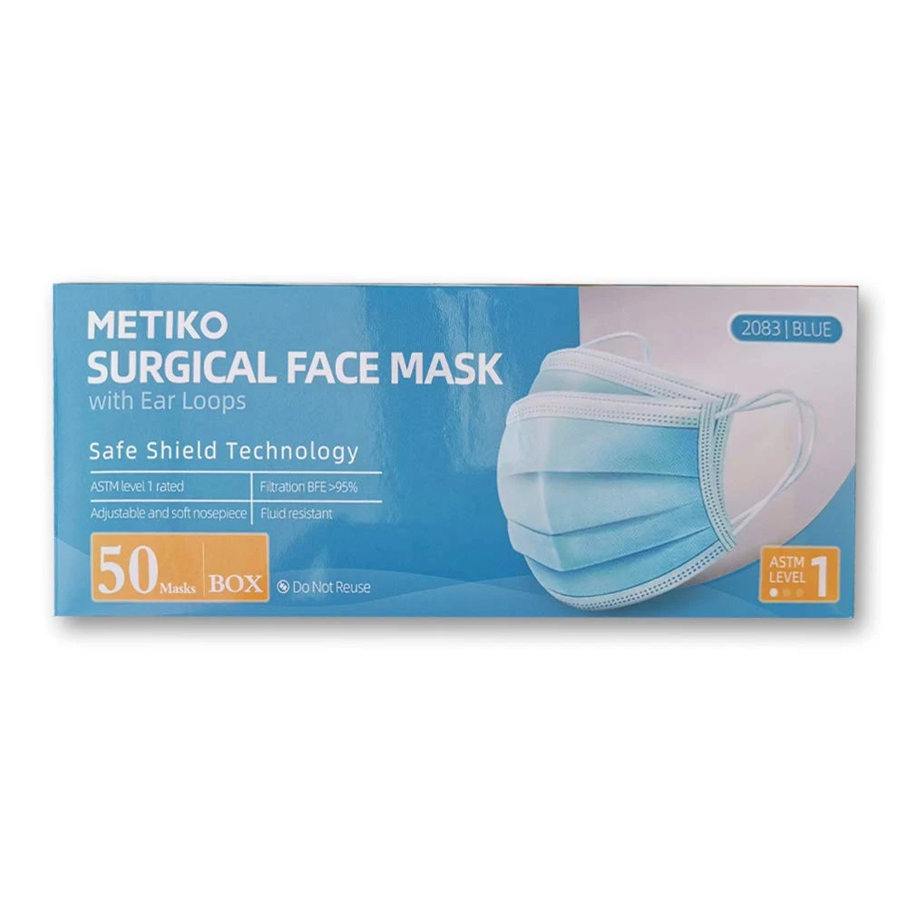 Level 1 - 3-ply Disposable Face Mask - Blue - Metiko - Pack of 50